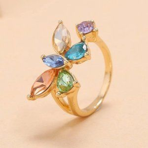 Multi Color Crystal Butterfly Ring